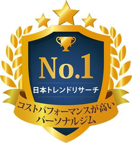 No.1 日本トレンドリサーチ コストパフォーマンスが高い パーソナルジム ※実施委託先:日本トレンドリサーチ 2020年3月実施:サイトのイメージ調査